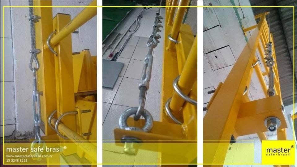 Linha de vida vertical para escada marinheiro